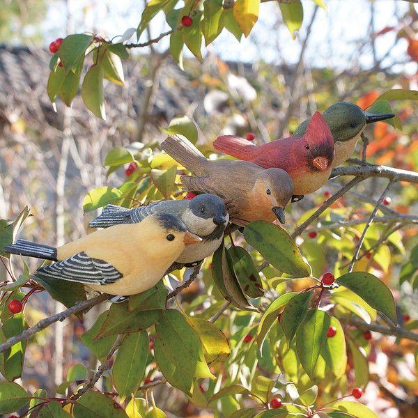 ... 小鳥クリップガーデンオーナメント -緑- (置物 オーナメント 庭 かわいい 鳥 野鳥 動物 オブジェ