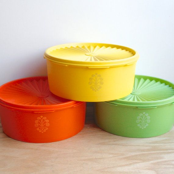 Vintage Tupperware Canister Set of Three by KitchenTableVintage, $18.00