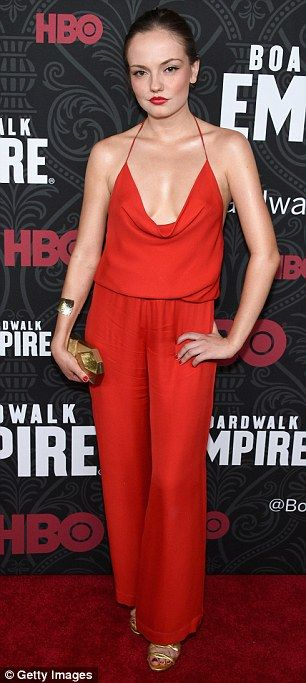 Red hot: Actress Emily Meade, 25, donned a sizzling red ensemble for the fifth and final season premiere of HBO's Boardwalk Empire at the Ziegfeld Theatre in Manhattan on Wednesday evening