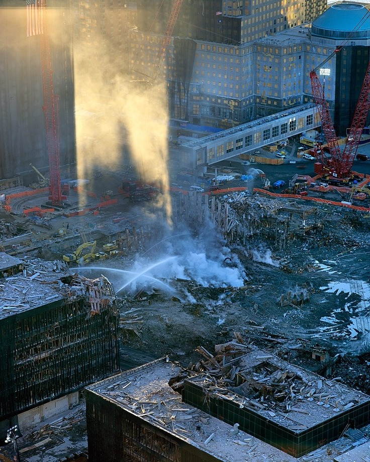 September 11, 2001, 9/11, NEVER FORGET, terrorist attack, the day the world changed, fire fighters, rubbles, ruins, horror, sunrise, the next day, history, photo.