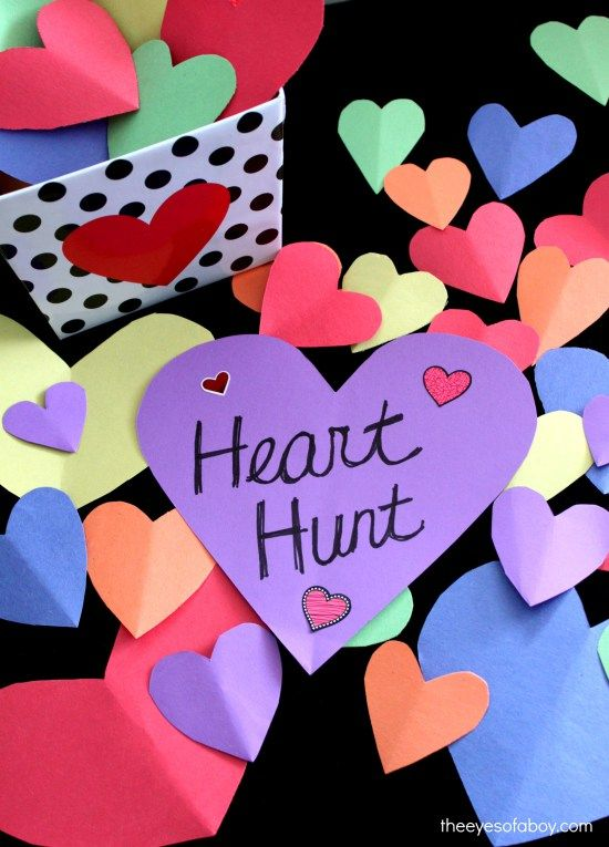 Fun Valentine's Day activity for kids and toddlers - Heart Hunt scavenger hunt is so cute and exciting and it's a game the whole family with love to do together