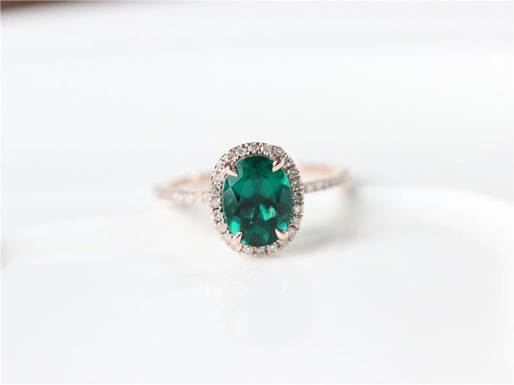 6X8mm  Oval Cut Emerald Ring Rose Gold Emerald Engagement Ring/Oval Cut Engagement Ring/Wedding Ring/Anniversary Ring/Vintage Wedding Ring by ByLaris on Etsy https://www.etsy.com/listing/261599398/6x8mm-oval-cut-emerald-ring-rose-gold