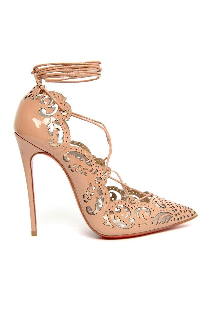 Christian Louboutin: Laser cutouts looked intriguing on Christian Louboutin's lace-up pump.