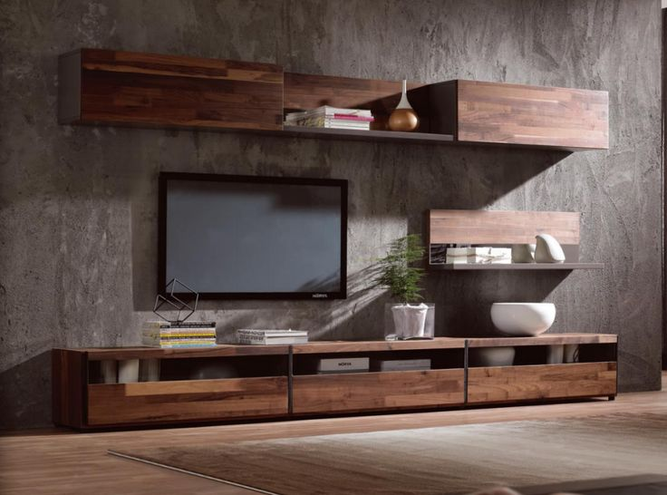 Modern Simple Tv StandWalnut Wood Veneer Cabinet