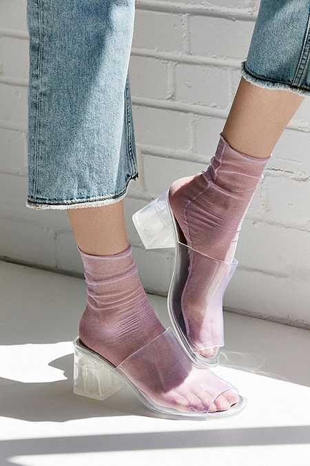 Out From Under Slouchy Glitter Mesh Ankle Sock
