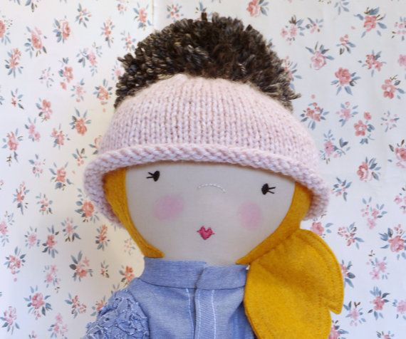 Pink knit doll hat. Doll hat with pom-pom. By ohbAby1112 #knitdollhat #dollbeanie