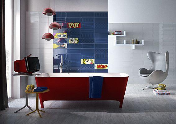 Imola Ceramica Pop Pop (IMOLA CERAMICA)-IMOLA CERAMICA-5 , Ванная, Общественные помещения, стиль Авангард, Фактура под кирпич, Керамика, универсальная, Глянцевая, Неректифицированный, Разнотон V1