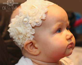 Christening Headband Baptism Headband by TheOhSoBellaBoutique