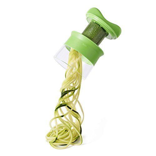OXO Good Grips Handheld Spiralizer, Green - The OXO Good Grips Handheld Spiralizer creates curly noodles from zucchinis, cucumbers and other long vegetables for pasta-like dishes, salads and garnishes. The open-blade design also accommodates round vegetables like potatoes and beets for curly fries, frittatas and more. The included food hol...