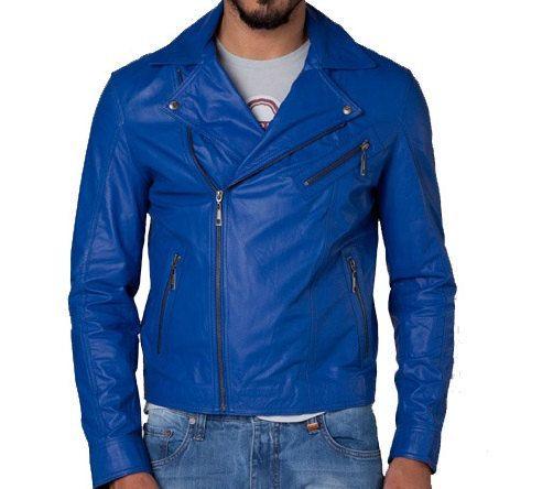 Handmade Men Blue Leather Jacket only: $169.99