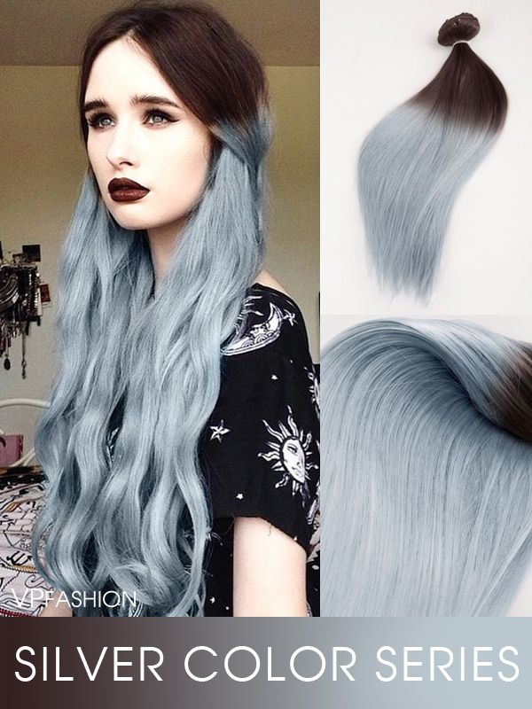 Brown to Granny Silver Two Color Ombre Clip In Hair Extensions CS034 –