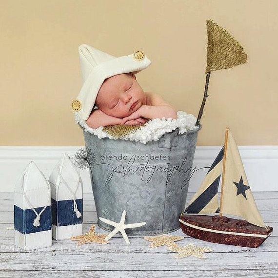 Newborn Baby Boy Sailor Hat Photography Prop Newspaper Hat Vintage Inspired Nautical Newborn Props Infant Boy Fabric Hats Pirate Hat