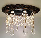 Victorian recessed light trim with triple crystal chain and tear drops