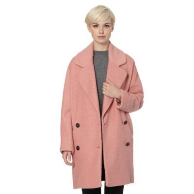 Betty Jackson.Black Designer light pink oversized wool blend coat- at Debenhams.com