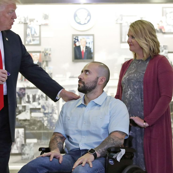 "Donald Trump awards veteran Purple Heart, says ""congratulations"" and ""tremendous job"""