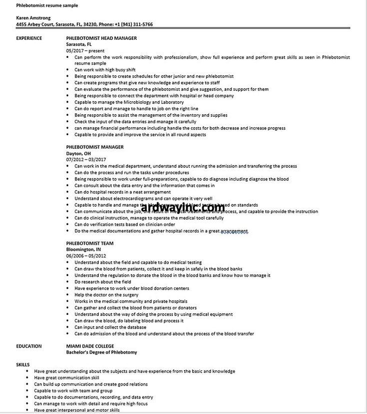 phlebotomist resume sample in 2020  phlebotomist medical