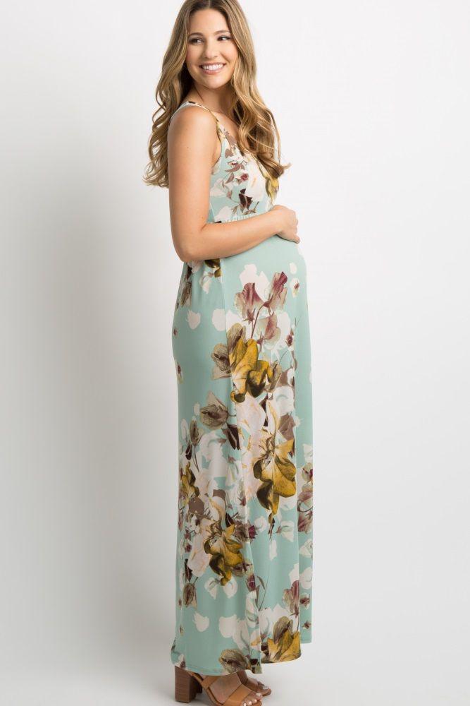 0f7c10cd6f Mint Green Floral Sleeveless Maternity Maxi Dress