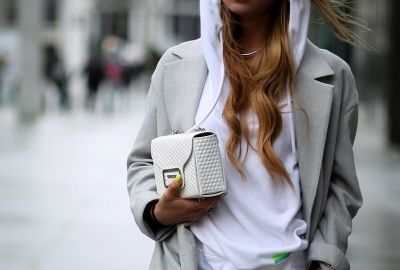 white leather handbag HEXAGON