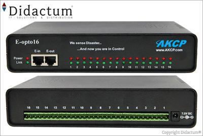 Das E-opto16 Modul von AKCess Pro (Art. Nr. 10161) für die AKCP securityProbe 5E Alarmserver erlaubt den Anschluss und die Überwachung weiterer 16 Alarmschalter / potentialfreieer Kontakte von wichtigen Anlagen und Systemen über das Netzwerk.