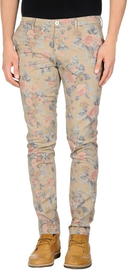 $39, Beige Floral Chinos: Manuel Ritz White Casual Pants. Sold by yoox.com. Click for more info: https://lookastic.com/men/shop_items/320786/redirect