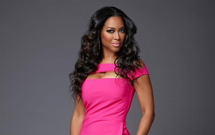 Descargar fondos de pantalla Kenya Moore, Americana modelo, actriz Estadounidense, maquillaje, mujer bella, vestido de color rosa, de Hollywood