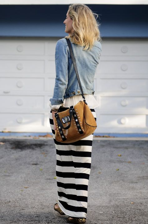 Cute Spring Outfit.... B Striped Maxi Skirt + White Blouse + Denim Jacket