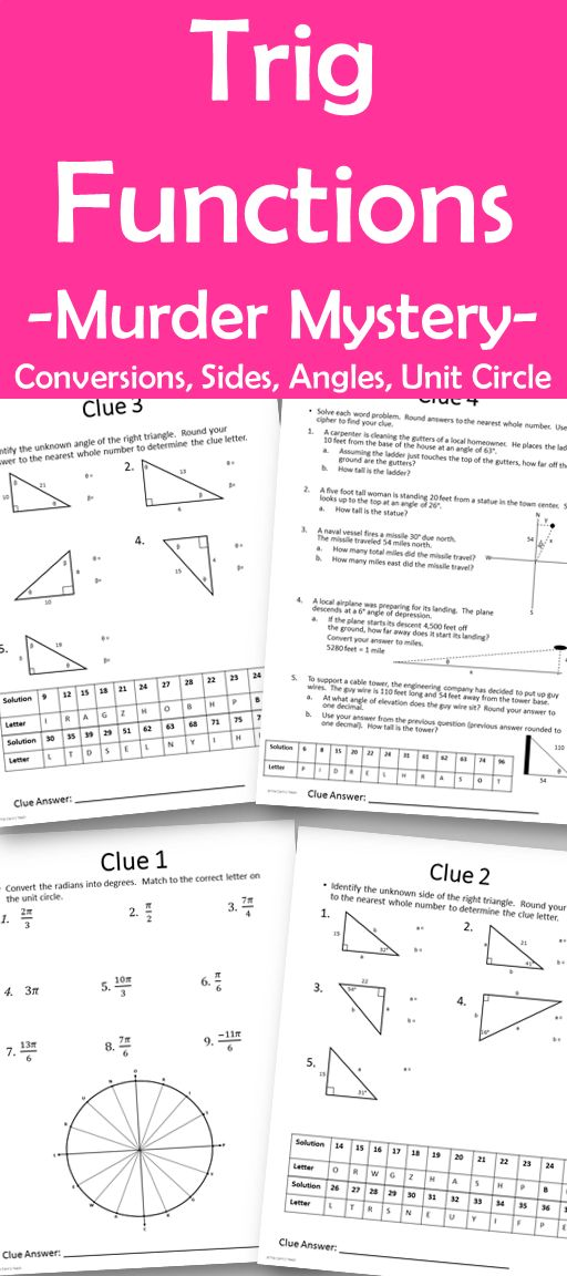A murder mystery that requires students to use their knowledge of basic trigonometric functions to find the killer!   Students will be led through 5 puzzles to find clues leading to the killer. Puzzles require students to use knowledge of finding unknown sides and angles using sine, cosine and tangent, solving word problems, converting radians to degrees and unit circles. After solving the 5 clues, only one suspect will be left.