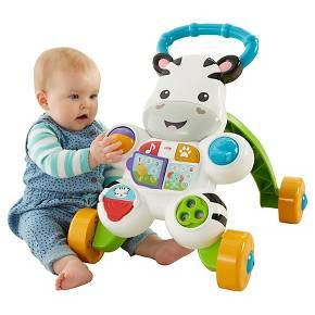 From teaching first words to encouraging first steps, the Fisher-Price Learn with Me Zebra Walker is the kind of first friend you want for your little one! Spin, flip, roll, twist. This zebra's full of busy, hands-on activities for sitting babies. Your baby can turn the book page or press the light-up buttons to hear all about ABC's & 123's through sing-along songs and phrases with new animal friends! And when baby's learning to walk, the easy-grasp...