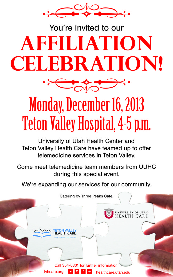 Teton Valley Health Care and the University of Utah Health Center have teamed up to offer #telemedicine in Teton Valley! We're having an affiliation celebration Dec. 16!