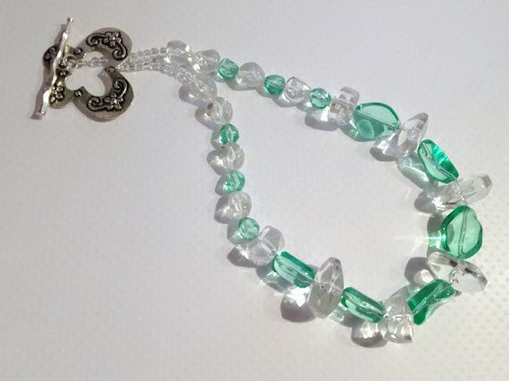 Chunky Mint Green Beaded Necklace by JewelleryByJanine on Etsy, £12.00