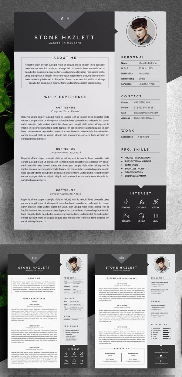 Modern Resume Template (4 Pages) Resume Design professional