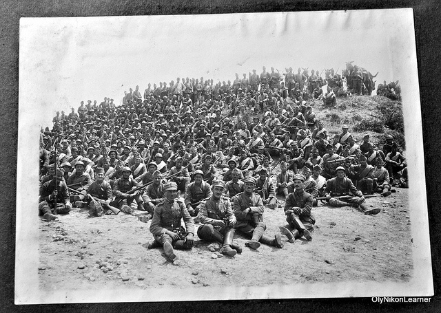 Greek army infantry company, c. 1922 Undated photo shot during the Asia Minor Campaign (1919-22). Troops wear the standard French army helmet.