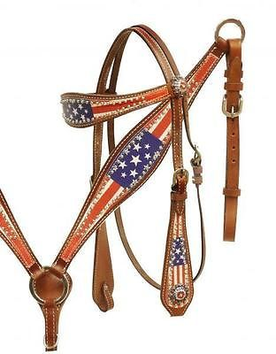 Showman American Flag Print headstall and breast collar set! NEW HORSE TACK!