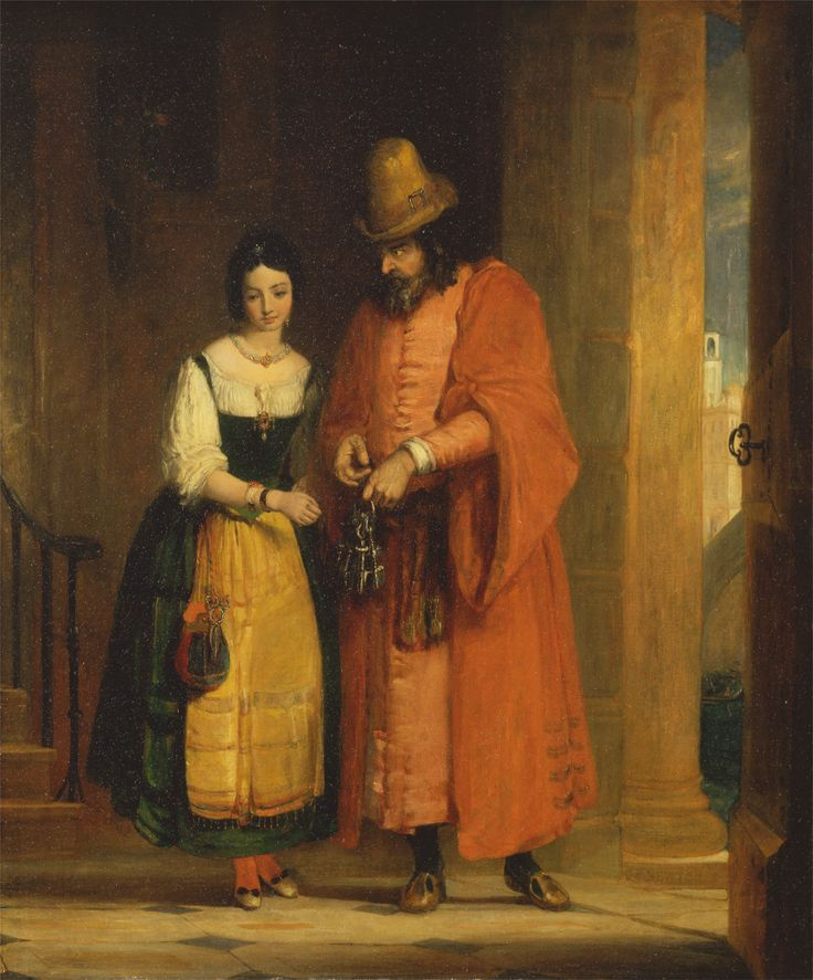 Shylock and Jessica from 'The Merchant of Venice,' Act II, Scene ii. Gilbert Stuart Newton. 1830.