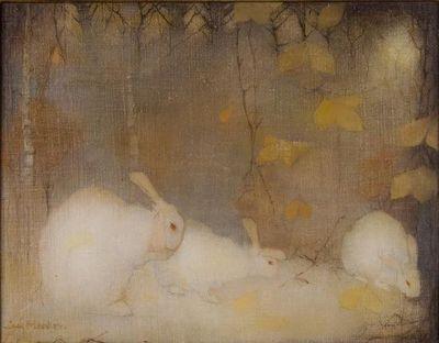 """Jan Mankes, """"Witte konijnen in herfstbos,"""" 1911"""