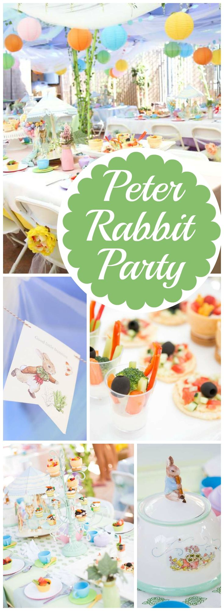 What a fantastic pastel Peter Rabbit tea party! See more party ideas at CatchMyParty.com!