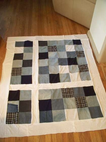Recycled Clothes (Jeans) Quilt...mom I like the offset on this ..... looks like a window