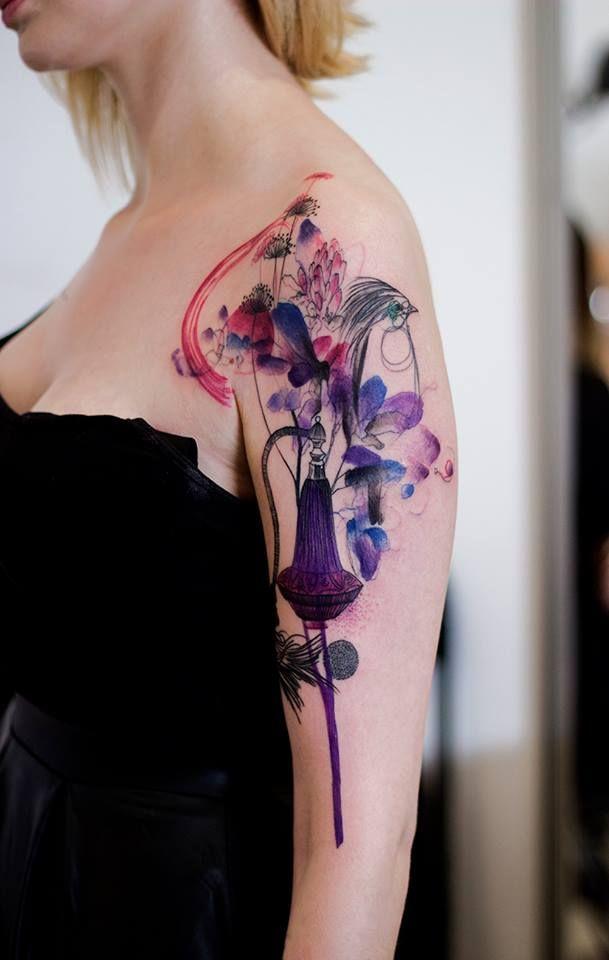 Marta Lipinski, Dead Romanoff Tattoos watercolor tattoo