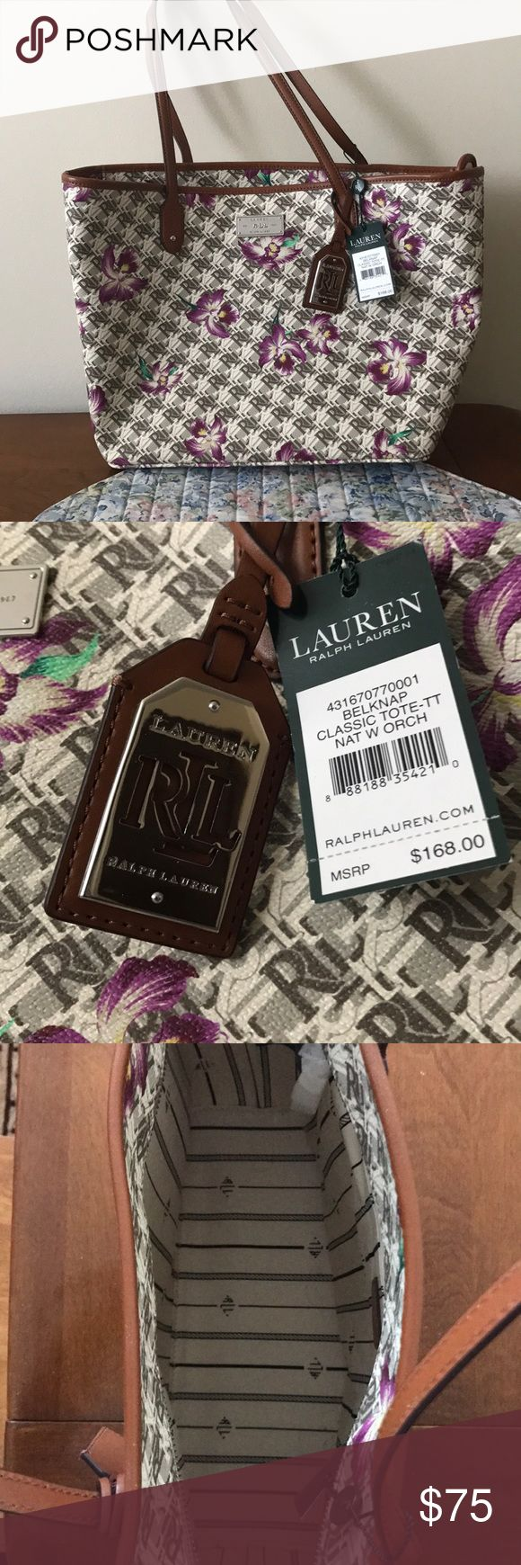 """Lauren Ralph Lauren Tote Bag This is the Belknap Classic Tote bag from Lauren Ralph Lauren. The color is labeled as """"Nature with Orchards"""" and the retail price is $168.  Perfect condition - new with tags. Zipper closure with inside pocket. Lauren Ralph Lauren Bags Totes"""