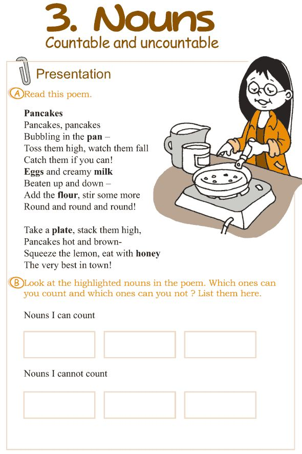 Grade 3 Grammar Lesson 3 Nouns – countable and uncountable