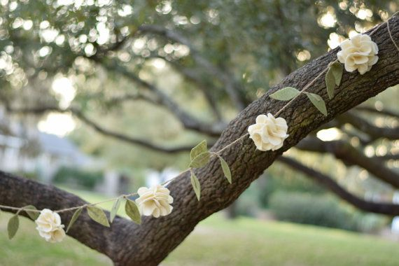 Rustic Flower Garland- Wedding Ivory Felt Flower Garland with Leaves- Hanging Fabric Floral Garland