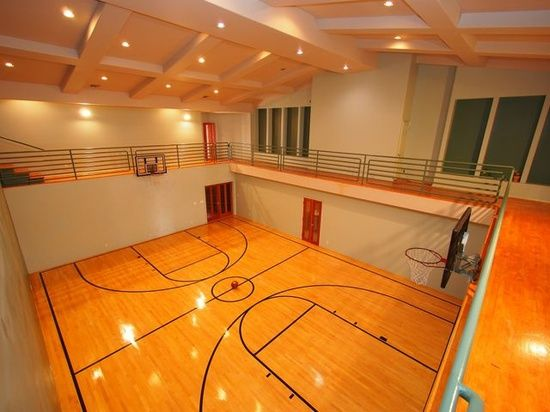 Indoor Basketball court. You could play at the bottom, Run around the track at the top.