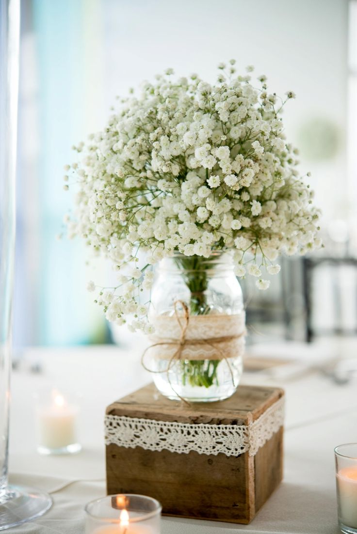 Lace ribbon adds a delicate touch to these rustic wedding centerpieces. Find our lace here: http://www.lightsforalloccasions.com/c-480-lace.aspx