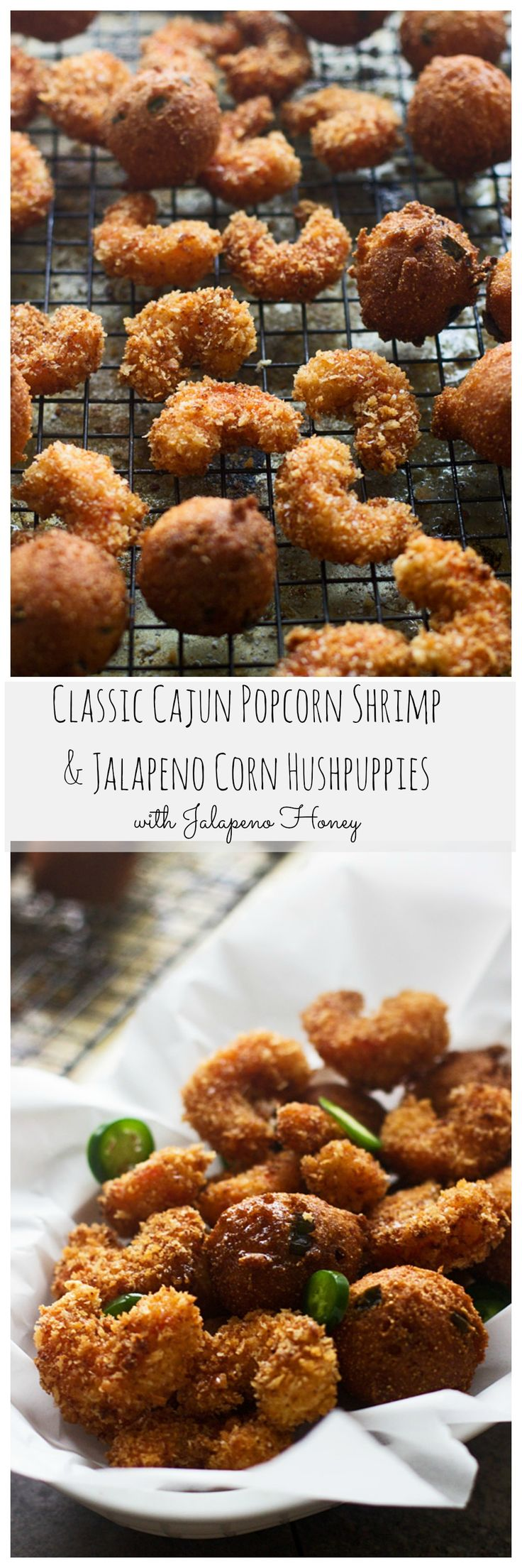 Popcorn Shrimp and Corn Jalapeño Hushpuppies with Jalapeño Honey