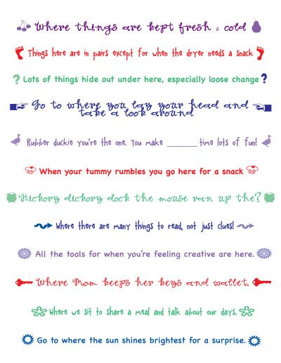 Scavenger Hunt Clues For Around The House Kids Pinterest