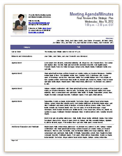 Contract Summary Template Template For Meeting Minutes, Flip Out