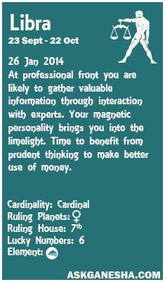Libra Daily horoscope for 26th January 2014.
