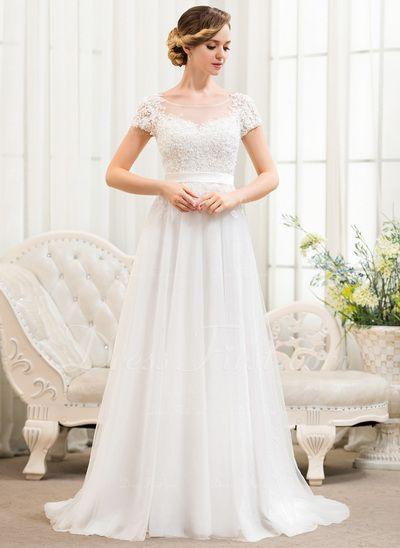 A-Linie/Princess-Linie U-Ausschnitt Sweep/Pinsel zug Tüll Spitze Brautkleid mit Perlen verziert Pailletten (002052783)