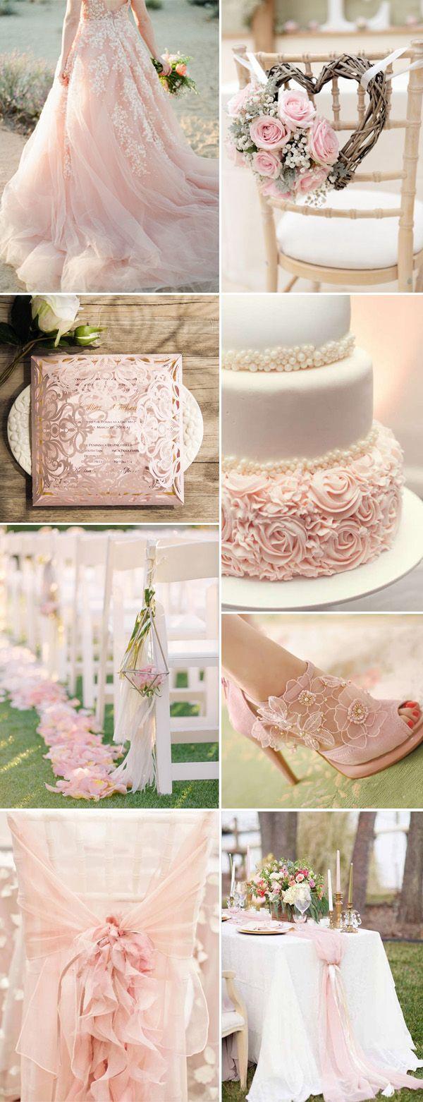 romantic blush pink laser cut gold foil stamped wedding invitations EWWS110