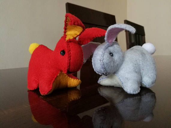 Strawberry Bunny and DustBunny plushies for Easter